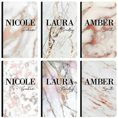 Personalised Name initials Marble Passport Holder Cover & Luggage Tag PU Leather