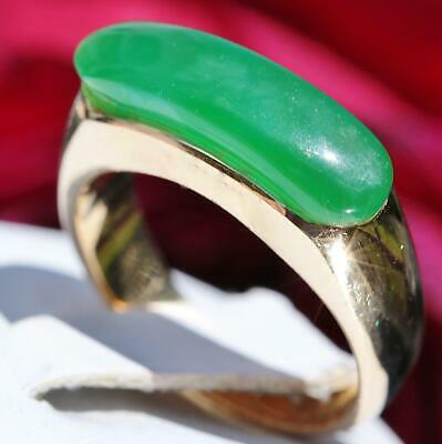 14k yellow gold ring 2.25ct  green stone size 6.5 handmade 4.1gr