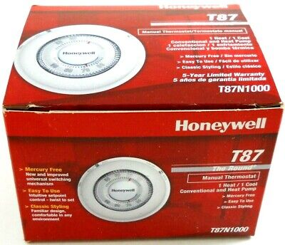 Honeywell Home/Bldg Center T87N1000 Round Heat/Cool Thermostat FREE SHIPPING