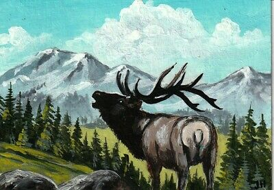 """aceo original acrylic painting """"Call of the Wild"""" by J. Hutson"""