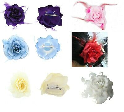 Glitter Edge Rose Flower Feathers Fascinator Ponytail Holder Hair Clip UK SELLER