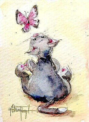 ACEO Original Cat Painting Watercolors Butterfly Kitty Miniature Togel OOAK ART