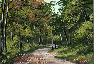 "aceo original acrylic painting ""Autumn Beginnings"" by J. Hutson"