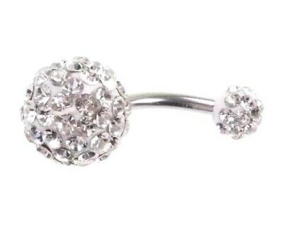 UK silver plated diamante crystal glitter ball belly navel bar fast postage ❤
