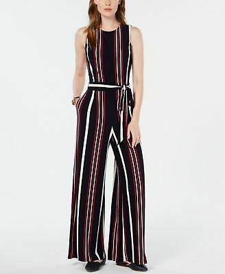 TOMMY HILFIGER $129 Womens Navy White Red Signature Stripe Wide Leg Jumpsuit 8