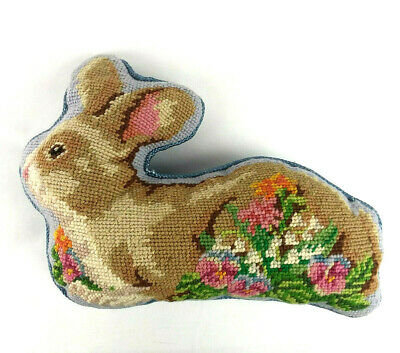 Completed Bunny Rabbit Needlepoint Tapestry Pillow Finished Easter Rabbit Shape