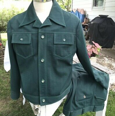 """VTG Mens 1970s Green Polyester Leisure Suit Jacket 44R Pants 38""""x35"""""""