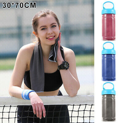 Instant Cooling Towel Sports Gym Drying Sweat Microfibre Absorb Dry & Case