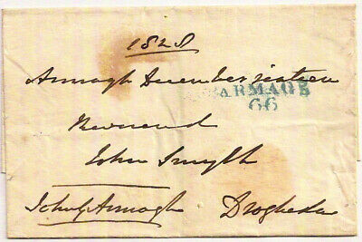 Ireland 1828 ARMAGH 66 blue mileage mark free pre-stamp cover->Drogheda