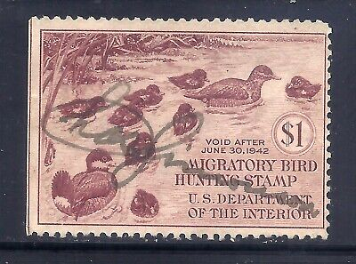 US Stamps - #RW8 - USED -  $1  1941 Duck Hunting Stamp - CV $45