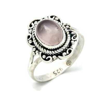 Ring 925 sterling silver rose quartz pink stone