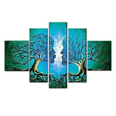 Hand Paint Canvas Oil Painting Home Decor Art Abstract Tree Lover Blue Pictures