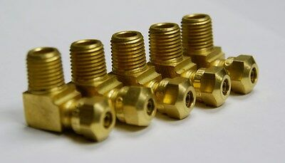 "Brass Fittings: DOT Air Brake Male Elbow, Tube OD 1/4"" Male Pipe 1/8"", Qty. 5"