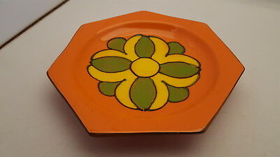 MCM Italy Pottery Retro Orange Yellow Green Heptagon Dish