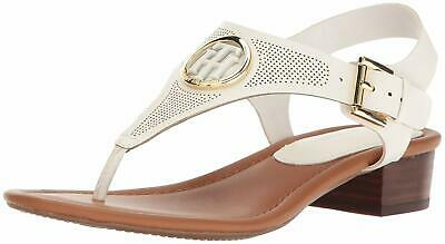 Details about Tommy Hilfiger White Ankle Strap T Strap Sandal WhieBrowGold 8.5M