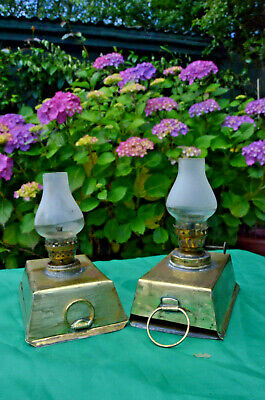 A Pair Of Very Unusual Oil Lamps Possibly For A Carriage Lamp Or Early Horseless