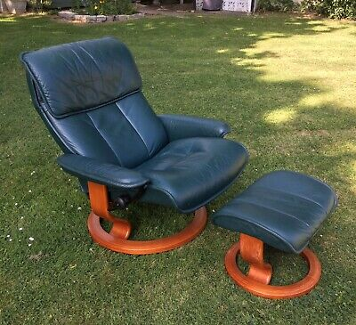 Ekornes Stressless Reclining Chair & Footstool Dark Green / Blue Leather