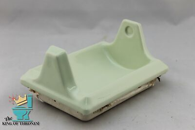 BA-1131 NOS Vintage Ceramic Bathroom Sage Green Toilet Paper Holder 7 x 5/""