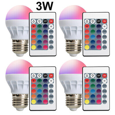 4x 3W E26 RGB LED Magic Spot Light Bulb Multi Color Memory Wireless Remote Lamp