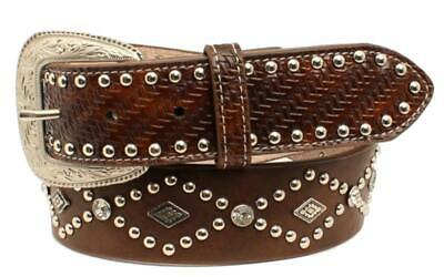 3D Western Mens Belt Leather Embossed Studded Black 7360
