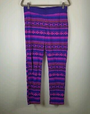 Columbia Girls Fleece Leggings Size XL Glacial 18 20 Purple blue