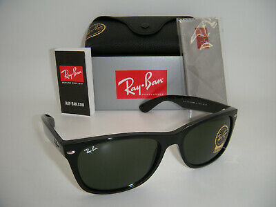 New Authentic Ray-Ban RB 2132 901 58MM Shiny Black / Crystal Green