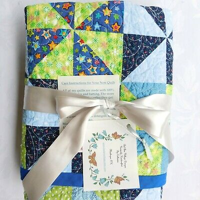 """New Handmade Baby Crib Quilt, Lap Throw, Coverlet, Blue and Green 37"""" x 37"""""""