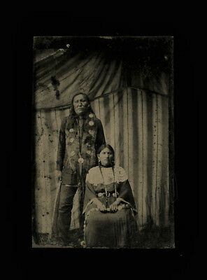 rare original antique 1800s tintype photo native american / indians
