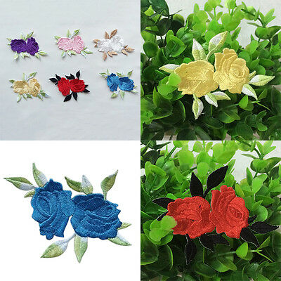Rose Flower Leaves Embroidery Iron On Applique  Patch Sewing Tools CW*OJ