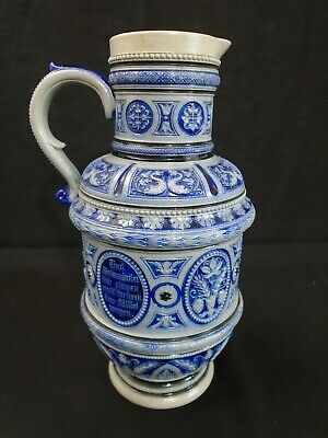 Grand size Antique German Westerwald Salt Glazed Stoneware Pitcher Stein 12.5""