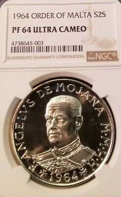 1964 Order Of Malta Silver 2 Scudi Ngc Pf 64 Ultra Cameo Low Mintage Scarce