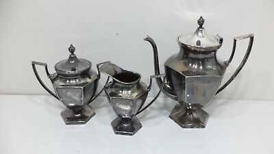 VINTAGE Wm. A Rogers Silver Plated Teapot Set # 2078 Bowl Pitcher