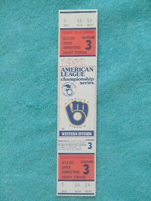 1982 Mlb Alcs Playoff Complete Ticket Game 3 Milwaukee Brewers Cal Angels