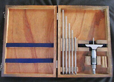 """Vintage NSK, 0-6"""" Depth Micrometer Set with wooden Case Machinist Tool Complete"""