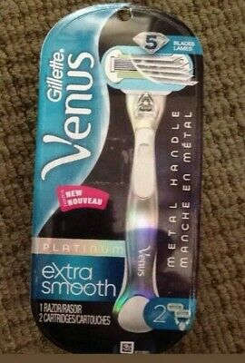 Gillette Venus Platinum Extra Smooth Metal Handle Razor + 5 REFILL BLADES !!!