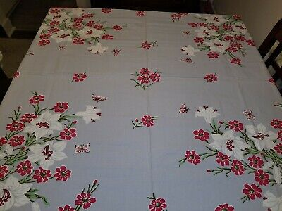 Vtg Lily Blossom Gray Red Linen Tablecloth