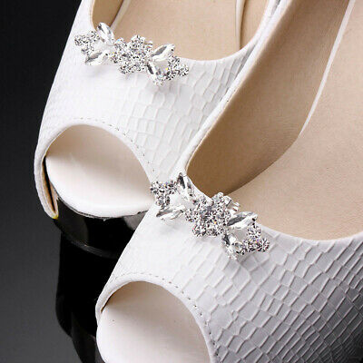 2 Style Sparking Silver Crystal Rhinestone Plated Tone Boots Buckle Shoe Clips