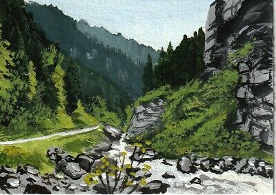 """aceo original acrylic painting """"A Stream in the Canyon"""" by J. Hutson"""