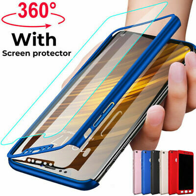 360° Full Protection Cover Case + Tempered Glass For Xiaomi Mi 9 8 F1 A1 A2 Lite