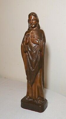 vintage religious hand carved wood Folk Art Jesus Christ statue sculpture Santos