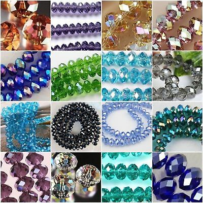 Rondelle Faceted Crystal Glass Loose Spacer Beads Wholesale 4x6mm 6x8mm