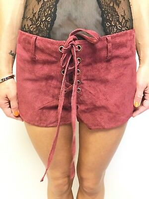 ONE TEASPOON maroon suede lace up front festival shorts sz 10