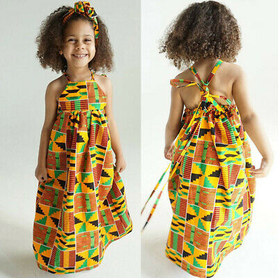 Toddler Baby Girls African Print Off Shoulder Hair Band Princess Casual Dresses