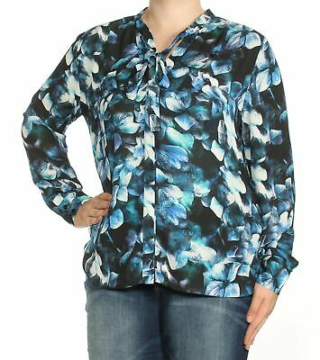 NYDJ Womens New 3217 Blue Floral Tie Neck Cuffed Casual Top XL B+B