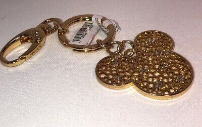 Disney Parks Classy Mickey Mouse Icon Gold Finish Keychain With Stones New
