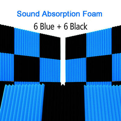 UK 12pcs Blue&Black Studuio Soundproofing Acoustic Wedge Foam Tiles Wall Panels