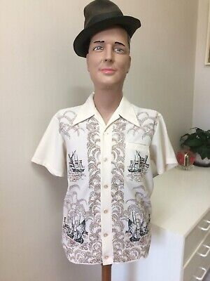 Original Vintage Men's 50s 60s Shirt Bisley Crimplene , Boat Print ,Retro Top