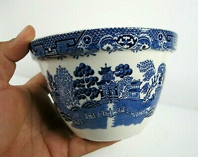 BLUE WHITE WILLOW England small flower pot planter ceramic bowl