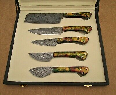 """Camouflag scale 5 pieces Kitchen knife set, Overall 42"""" long, suede roll sheath"""