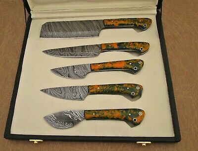 """5 pieces Kitchen knife set Overall 42"""" long Orange Camouflag, esuede roll sheath"""